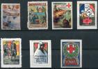 7 VIGNETTES CROIX-ROUGE DES COLONIES FRANCAISES (ST DENIS, TANANARIVE, SAIGON, ANNAM, ST PIERRE, TANGER, KONAKRI) - Commemorative Labels