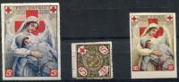 3 VIGNETTES CROIX-ROUGE DES COLONIES FRANCAISES (SECTION DE ST PIERRE ET MIQUELON, ILE WALLIS, ST PIERRE ET MIQUELON) - Commemorative Labels