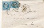 N°14 X 2 BLEU/AZURE SUR LETTRE CACHET A DATE PARIS. - 1853-1860 Napoléon III