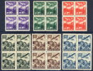 SLOVAKIA 1939 Airmail Set Of 6 In Blocks Of 4  MNH / **.  Michel 48-53 - Unused Stamps