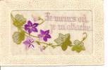 - Carte  Brodée Avec Branche De Violettes  Et Lierre -  Je Meurs Où Je M'attache - Brodées