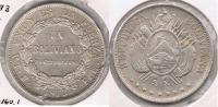 BOLIVIA BOLIVIANO 1873 PLATA SILVER  T - Bolivia