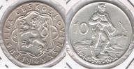 CHECOSLOVAQUIA 10 CORONAS 1954 PLATA SILVER T - Checoslovaquia