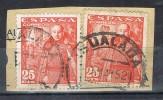 Dos Sellos 25 Cts Caudillo Mota, Fechador IGUALADA (Barcelona) Num 1032 º - 1931-Today: 2nd Rep - ... Juan Carlos I