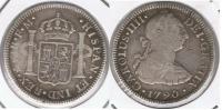MEXICO CARLOS IIII BUSTO DE CARLOS III 2 REALES 1790 PLATA SILVER T - México