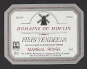 Etiquette De Vin Fiefs Vendéens  75 Cl  - Domaine Du Moulin  -  Thème Moulin à Vent - M.  Babin à La Couture (85) - Windmills