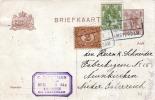 NIEDERLANDE 1922 - 7,5 C Ganzsache + 3 + 2 C Zusatzfrankierung Auf Pk V.Amsterdam - Neunkirchen