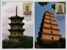 China 1994 Set Of 4 Pagodas Of Ancient China Maximum Card,maxi Card,carte Maximum - Arquitectura