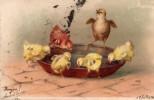 C.P.A. De 1901 - Oiseau - 6 Poussins Colorés - Repas Dans Une Gamelle - - Oiseaux