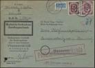 131+133 Posthorn 25+40 Pf + Notopfer MiF Zustellurkunde Hannover 1.6.53 - BRD