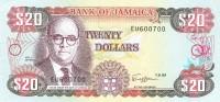 Jamaica - Pick 72c - 20 Dollars 1989 Unc - Jamaica