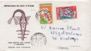 Postal History Cover: Ivory Coast Crabs Stamps On Cover - Crustáceos