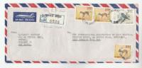 REGISTERED Air Mail ARMOUR STREET  SRi LANKA COVER Stamps  BIRD Birds  DEER - Sri Lanka (Ceylon) (1948-...)