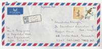 REGISTERED Air Mail West Colombuthurai  SRi LANKA COVER Stamps  BIRD Birds DEER - Sri Lanka (Ceylon) (1948-...)