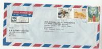 REGISTERED Air Mail KOLLUPITIYA SRI LANKA COVER  Stamps SINHALESE TAMIL NEW YEAR BIRDS Bird CIVET To GB - Sri Lanka (Ceylon) (1948-...)