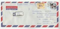 REGISTERED Air Mail CHUNNAKAM SRi LANKA COVER Stamps  ORCHID FLower DEER To GB Orchids Flowers - Sri Lanka (Ceylon) (1948-...)