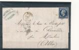 N°14 BLEU NOIR SUR LETTRE. - 1853-1860 Napoléon III