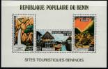 Benin 1977 Tourism Miniature Sheet. Waterfalls, Stilt Village Of Ganvie, Tourist Village. Mi Block 3 MNH - Benin – Dahomey (1960-...)