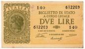 2 LIRE ITALIA LAUREATA VENTURA SIMONESCHI GIOVINCO - [ 1] …-1946 : Koninkrijk