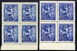 BOHEMIA & MORAVIA 1943 Wagner Anniversary 250 H. In Two Shades In Blocks Of 4 MNH / **. Michel 130 - Bohemia & Moravia