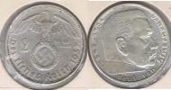 ALEMANIA  DEUTSCHES REICH 2 MARK A 1937 PLATA SILVER S - 2 Reichsmark