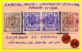ESPAÑA -  4 - SELLOS -  FISCALES  VALOR   10. 20 . Y 30 Ctms. - Fiscales