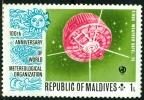 ISOLE MALDIVE, MALDIVE ISLANDS,  COOPERAZIONE METEOROLOGICA MONDIALE, 1974, NUOVO (MNH**), Scott 464 464 - Maldives (1965-...)