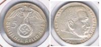 ALEMANIA  DEUTSCHES REICH 5 MARK A 1938 PLATA SILVER S - [ 4] 1933-1945 : Tercer Reich
