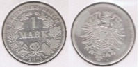 ALEMANIA  DEUTSCHES REICH MARK B 1875 PLATA SILVER S - 1 Mark