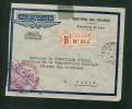 Enveloppe Chargé  Recommandé De Vientiane Pour Paris- Cachet Trésorerie Du Laos - Briefe U. Dokumente