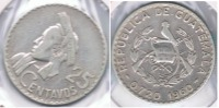 GUATEMALA 25 CENTAVOS PESO 1960 PLATA SILVER S - Guatemala