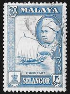 MALAYA Selangor - Scott #108 Sultan Hisamuddin Alam Shah / Used Stamp - Selangor
