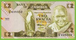 Voyo ZAMBIA 2 Kwacha ND(1980-88) P24c B125c UNC Prefix 88/B Fish Eagle - Zambie
