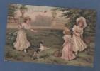 CP ILLUSTRATEUR - JEU DE VOLANT / BADMINTON / TENNIS - ENFANTS RAQUETTES ET CHIEN - CIRCULEE 1907 - SANS NOM D´EDITEUR - Illustrators & Photographers