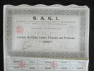 Action 500 Frans Au Porteur S.A.G.I S Societe Anonyme Gravure Et Impression Siège Social à Lyon 1929 - Actions & Titres