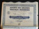 Action 100 Francs Au  Porteur Societe Des Grands Travaux Modernes Siege Paris  Titre Coupons - Actions & Titres