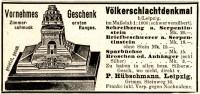 Original-Werbung/ Anzeige 1911 - ZIMMERSCHMUCK VÖLKERSCHLACHTDENKMAL / HÜBSCHMANN - LEIPZIG - Ca. 90 X 40 Mm - Advertising