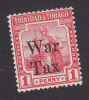 Trinidad And Tobago, Scott #MR1, Mint Hinged, Britannia Overprinted, Issued 1917 - Trinidad & Tobago (...-1961)