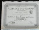 Action 100 Francs Societe Française Commerce Sud-African Societe Anonyme Siege à Paris 1896 - Afrique