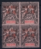 HOI HAO Yv Nr 9 MNH/** Sans Charnière  Postfrisch 4-block Left Bottom Stamp Has A Fold - Neufs