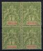 Indochine Yv Nr 15 MNH/** Sans Charnière  Postfrisch In 4 Block, Cat Valeur 560 Euro - Indochine (1889-1945)