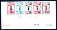 MAROC - N° 416 - J.O. De ROME 1960 - 20 F - POIDS ET ALTHERES - BANDE DE 5 EN ESSAIS DE COULEURS - COIN DATE - LUXE - Morocco (1956-...)
