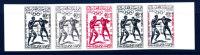 MAROC - N° 418 - J.O. De ROME 1960 - 40 F BOXE - BANDE DE 5 EN ESSAIS DE COULEURS - LUXE - Morocco (1956-...)