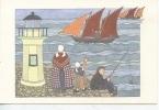 Anne Odile Huet Humeau : Ohé - N°17 (retour Pêche Pêcheur à La Ligne Phare Femme Enfant) Bretagne ? - Illustrateurs & Photographes