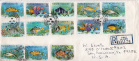 Postal History Cover: Turks And Caicos 14 Fishes Stamps On R Cover - Poissons