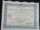 ACTION 100 Francs Societe Anonyme Des Compteurs Volumetriques (Brevet Letreux) Siege à Paris - Shareholdings