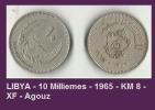 LIBYA - 10 Milliemes - 1965 - KM 8 - XF - Agouz - Libya