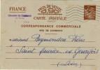 ENTIER POSTAL  # CARTE POSTALE # TYPE IRIS # SANS VALEUR INDIQUEE  # 1940 # REF STORCH -FRANCON # H 3   # - Entiers Postaux