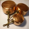 Lot De 3 Casseroles Aluminium Cuivré Manche Bronze 103/123/142 Mm 800g. TBE - Cuivres