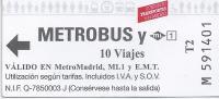 Ticket Métrobus 10 Voyages. (Espagne) - Métro